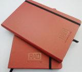 La impresión portátil portátil de poliuretano suave, cubierta de cuero negro, texto, Estilo Moleskyne