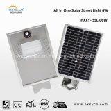 La luz de calle solar integró todos en un tipo con panel solar arriba eficiente de la batería de Li el mono