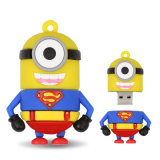 Vara personalizada do USB dos desenhos animados do flash do USB do PVC dos povos movimentação amarela