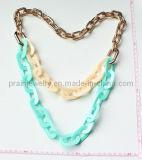 La moda de la Prom colorido ambiental Cumpleaños Collar de acrílico acrílico color Llavero de aleación de cobre (PN-158)