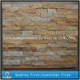 Pietra gialla della coltura del quarzo per il rivestimento della parete, mattonelle della parete