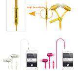Colorido en la cremallera de 3,5 mm de la oreja los auriculares, auriculares auriculares cremallera