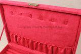 Caja de presentación rosada al por mayor de la joyería del terciopelo