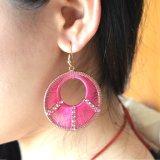 2개의 색깔은 철사 직물 모조 다이아몬드 둥근 하락 귀걸이를