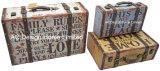 S/3 Doos van de Koffer van de Opslag van de Druk Pu Leather/MDF van het Ontwerp van het Landbouwbedrijf van de Decoratie de Antieke Uitstekende Levende Houten