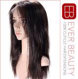 Parrucca piena indiana del merletto dei capelli umani di Remy con la linea sottile naturale