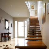 Escadas retas contemporâneo escadaria flutuante com piso de madeira Stringer invisível