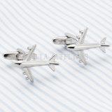 Cufflink покрынный серебром смешной самолет-истребителя способа VAGULA 698