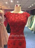 Rückseiten-Trompete-rotes Spitze-Abend-Kleid der Aoliweiya Schutzkappen-Hülsen-V