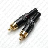 Adaptador que suelda del RCA del enchufe masculino del conector W del resorte audio de oro del metal