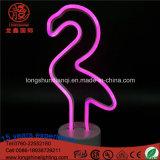 """LED 12.6 """" 건전지에 의하여 운영하는 분홍색 홍학 네온사인 책상 테이블 램프 밤 빛"""