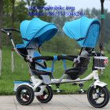 1台の高品質の二重シートの子供のスマートなTrikeの赤ん坊の三輪車の子供の三輪車に付き3台