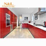 Cabina de cocina blanca roja del alto lustre