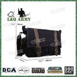 Toile sac messager en cuir de style militaire sacoche pour ordinateur portable de l'épaule