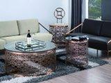 Mesa de centro de mármore redonda com frame de aço inoxidável