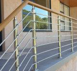 ステンレス鋼のバルコニーの手すりを柵で囲む現代ステアケース棒
