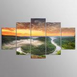 5 pinturas quadro parede modernas da arte da lona da cópia das nuvens da água e do céu do lago panel HD para o retrato Kn-13 da parede da sala de visitas