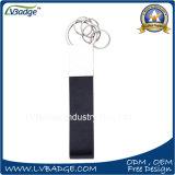 Прямоугольной персонализированный формой мягкий металл эмали & кожаный ключевая цепь