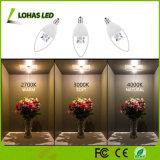 Non-Dommable 60W 동등한 LED 전구 (6W) 2700K는 백색 E12 가지가 달린 촛대 가벼운 가이드 초 전구를 데운다