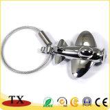 Personalizar la forma de avión chapado de perla de aleación de zinc Llavero de metal