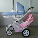 新しいデザイン承認されるヨーロッパ人が付いている贅沢なフォールドの赤ん坊の倍のベビーカー