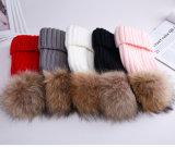 装飾の毛皮POMの帽子の帽子の毛皮のPOMによって編まれる帽子