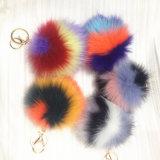 袋のための美しいハート形の毛皮のキーホルダーの偽造品の毛皮袋の魅力ののどPOM POM