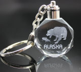выгравированная лазером цепь фотоего СИД цепей кристалла СИД медведя 3D восьмиугольная ключевая кристаллический ключевая