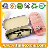 Caixa de estanho metálico óculos de leitura caso de estanho