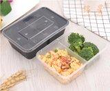 Take-Away коробки обеда 2 Sub-Решетки 1000 Ml лидирующие квадратные двойные устранимые пластичное с коробкой еды пакета быстро-приготовленное питания