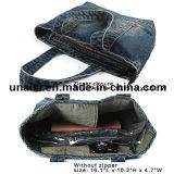 Bolsa do Tote da compra do ombro da sarja de Nimes das calças de brim da lona com dois bolsos