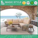 Il sofà esterno del rattan ha impostato con il tavolino da salotto d'angolo di vimini del giardino del sofà del rattan dell'ammortizzatore