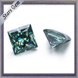 Principessa Moissanite Stone di colore verde 8*8mm Squar