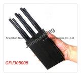 6 canaux haute puissance portable (intégrée Battry) cellulaire brouilleur bloqueur, téléphone