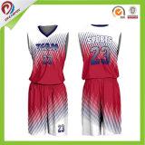 Wholesale OEM 100% Polyester Sublimation Custom Red Basketball Uniform