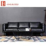 Sofá italiano del sofá del cuero genuino de Nappa del grano de la tapa del color del negro del estilo para la sala de estar