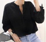 Camiseta Collarless de la camisa de 2017 del nuevo algodón de la manera señoras del ocio