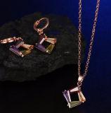 925 فضة مجوهرات محدّد غنيّ بالألوان حل مدلّاة عقد بيع بالجملة بسيطة مربّعة نمو مجوهرات
