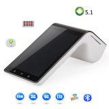 Doble pantalla táctil portátil Smart Finical POS seguro terminal con lector de tarjetas chip magnético NFC y la impresora Bluetooth para el sistema de pago PT7003