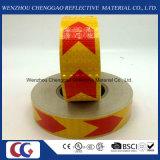 결정 격자를 가진 빨강과 노란 화살 PVC 사려깊은 테이프