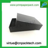 Boîte-cadeau faite sur commande de papier de carton de noir de mode avec l'impression de logo