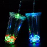 Paja de plástico plástico taza Mug LED vaso de jugo de bloqueo de viajes