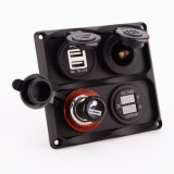 Car Motorcycle 4 Hole Waterproof Voltage Meter 12V Acessório Power Socket