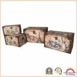 Antiguo cuadro decorativo de impresión de búho de madera Trunk Box