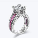 Het elegante Zilveren Bedekte Roze van Juwelen het Stapelen van Ring