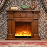 LED (323)が付いている現代簡単な木製の暖房の電気暖炉