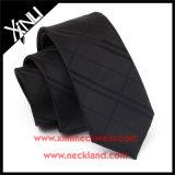 Le Mens maigre tissé par jacquard en soie de 100% attache le noir solide