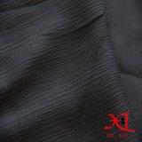 Tissu Chiffon de modèle de noir européen de ride pour la robe
