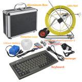 Inspeção do dreno das câmeras do esgoto da tubulação com teclados & contador do comprimento