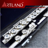16 agujeros abiertos plateado plata importada cuproníquel flauta profesional (AFL6507)